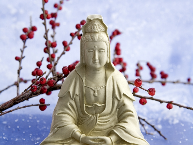 Kuan Yin on Blue Cloth with Winter Berries